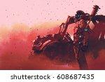 red astronaut standing near... | Shutterstock . vector #608687435