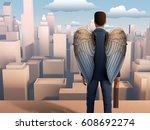 winged businessman looking over ... | Shutterstock . vector #608692274