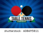 table tennis championship badge ... | Shutterstock .eps vector #608695811