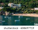 przno  montenegro. fishing... | Shutterstock . vector #608697719