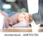 double exposure of business men ... | Shutterstock . vector #608701781