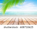 old wood table top on blurred... | Shutterstock . vector #608710625