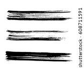 set of ink vector brush strokes.... | Shutterstock .eps vector #608711591