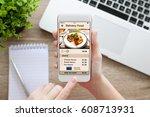 female hand holding white phone ... | Shutterstock . vector #608713931