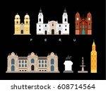 peru famous landmarks... | Shutterstock .eps vector #608714564