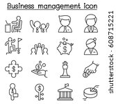 business management icon set in ... | Shutterstock .eps vector #608715221