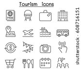 tourist icon set in thin line... | Shutterstock .eps vector #608716151