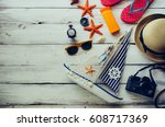 accessories costume with travel ... | Shutterstock . vector #608717369