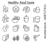 healthy food icon set in thin... | Shutterstock .eps vector #608717411