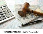 judge's gavel and dollar... | Shutterstock . vector #608717837