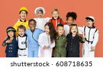 group of diverse kids wearing... | Shutterstock . vector #608718635