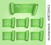 big spring sale stickers set.... | Shutterstock .eps vector #608720411