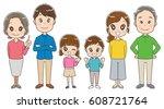 three generations family... | Shutterstock .eps vector #608721764