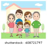 three generations family and... | Shutterstock .eps vector #608721797