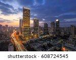 aerial view of shanghai... | Shutterstock . vector #608724545