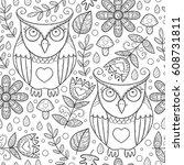 monochrome forest seamless... | Shutterstock .eps vector #608731811