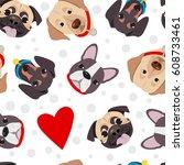 vector illustration  seamless... | Shutterstock .eps vector #608733461