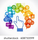 vector background. social media ... | Shutterstock .eps vector #608733599