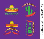 mexican food logo. mexican fast ... | Shutterstock . vector #608736119