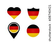 german flag symbols in heart... | Shutterstock .eps vector #608740421