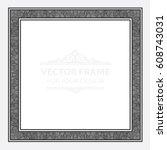 vintage vector set retro frame  ... | Shutterstock .eps vector #608743031