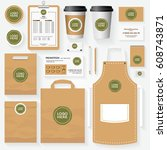 corporate identity template set ... | Shutterstock .eps vector #608743871