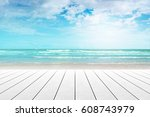 old wood table top on blurred... | Shutterstock . vector #608743979
