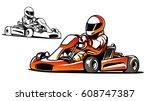 go kart. kart racing | Shutterstock .eps vector #608747387