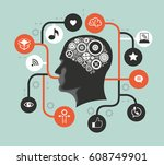 silhouette of a man's head with ... | Shutterstock .eps vector #608749901