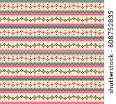 tribal flower stripes seamless... | Shutterstock .eps vector #608752835