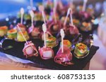 beautifully decorated catering... | Shutterstock . vector #608753135