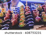 beautifully decorated catering... | Shutterstock . vector #608753231