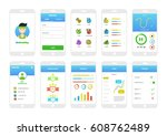 be healthy fitness ui kit app | Shutterstock .eps vector #608762489