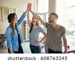 young smiling trendy co workers ... | Shutterstock . vector #608763245