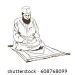 hand drawn sketch of a muslim... | Shutterstock .eps vector #608768099
