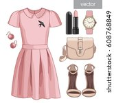lady fashion set of spring ... | Shutterstock .eps vector #608768849