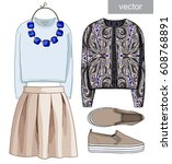 lady fashion set of autumn ... | Shutterstock .eps vector #608768891