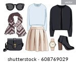 lady fashion set of autumn... | Shutterstock .eps vector #608769029
