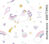 unicorn magic seamless pattern... | Shutterstock .eps vector #608773901