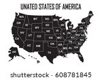 poster map of united states of... | Shutterstock .eps vector #608781845