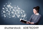 casual young woman holding book ... | Shutterstock . vector #608782049