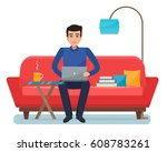 freelancer man with computer on ... | Shutterstock .eps vector #608783261