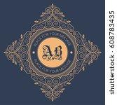monogram template with... | Shutterstock .eps vector #608783435