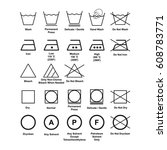 laundry symbol set isolated... | Shutterstock .eps vector #608783771