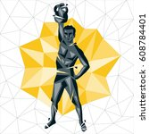 geometric crossfit concept.... | Shutterstock .eps vector #608784401