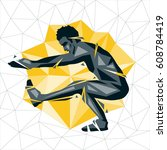 geometric crossfit concept. one ... | Shutterstock .eps vector #608784419