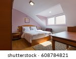 hotel bedroom interior | Shutterstock . vector #608784821