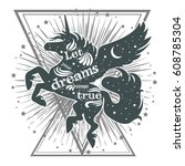 magic unicorn silhouette with... | Shutterstock .eps vector #608785304
