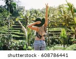 young blonde hipster woman... | Shutterstock . vector #608786441
