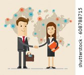 business man and woman  shake... | Shutterstock .eps vector #608788715
